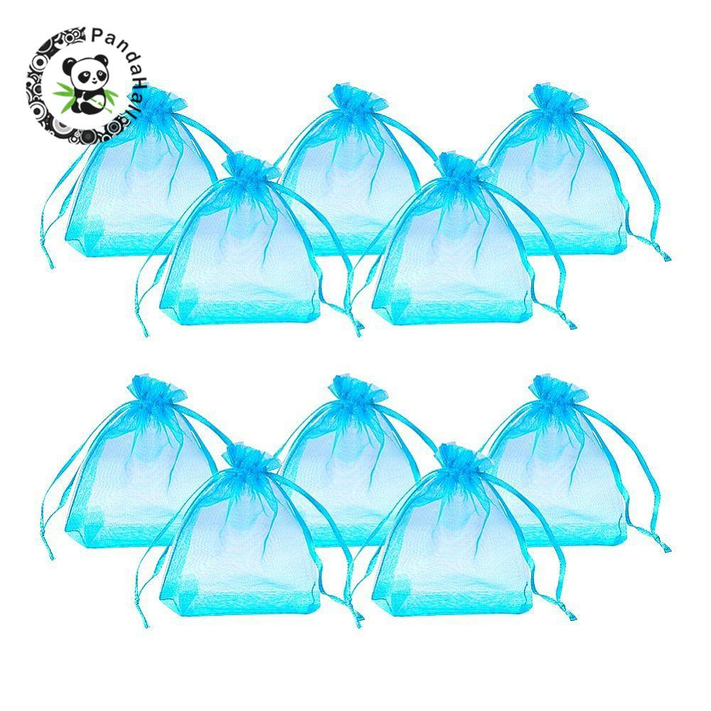 100pcs Rectangle Organza Bags For Jewelry Packaging Cyan Wedding Gift Pouches 8x10cm