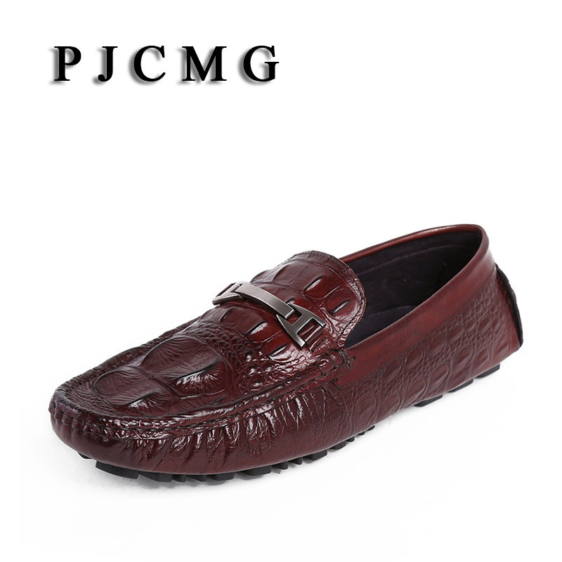 PJCMG Spring New Arrival Moccasins Crocodile Genuine Embossed Leather Breathable Casual Flats Loafers Driving Men Shoes new arrival high genuine leather comfortable casual shoes men cow suede loafers shoes soft breathable men flats driving shoes