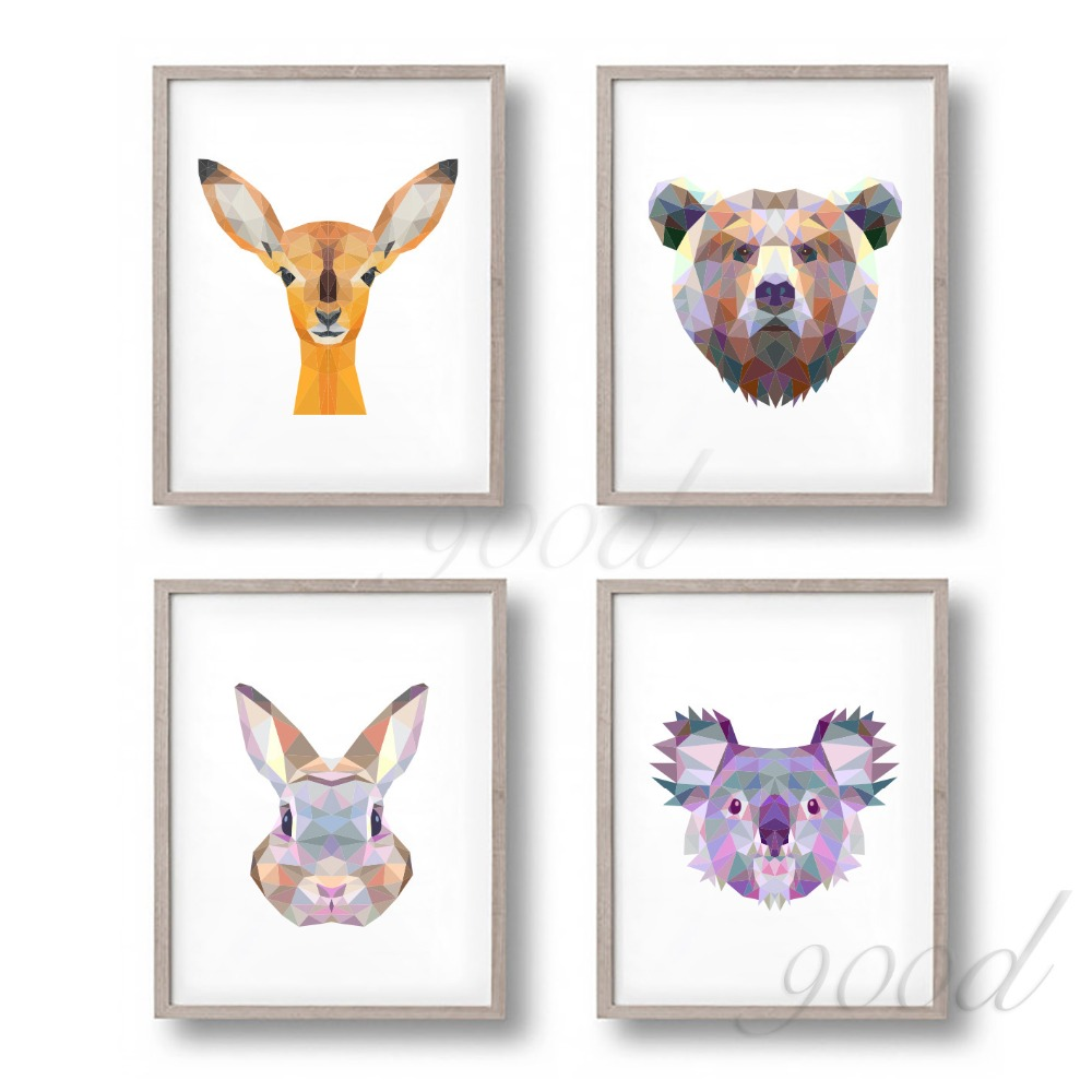 Buy triangle animal set canvas art print for Art painting for home decoration