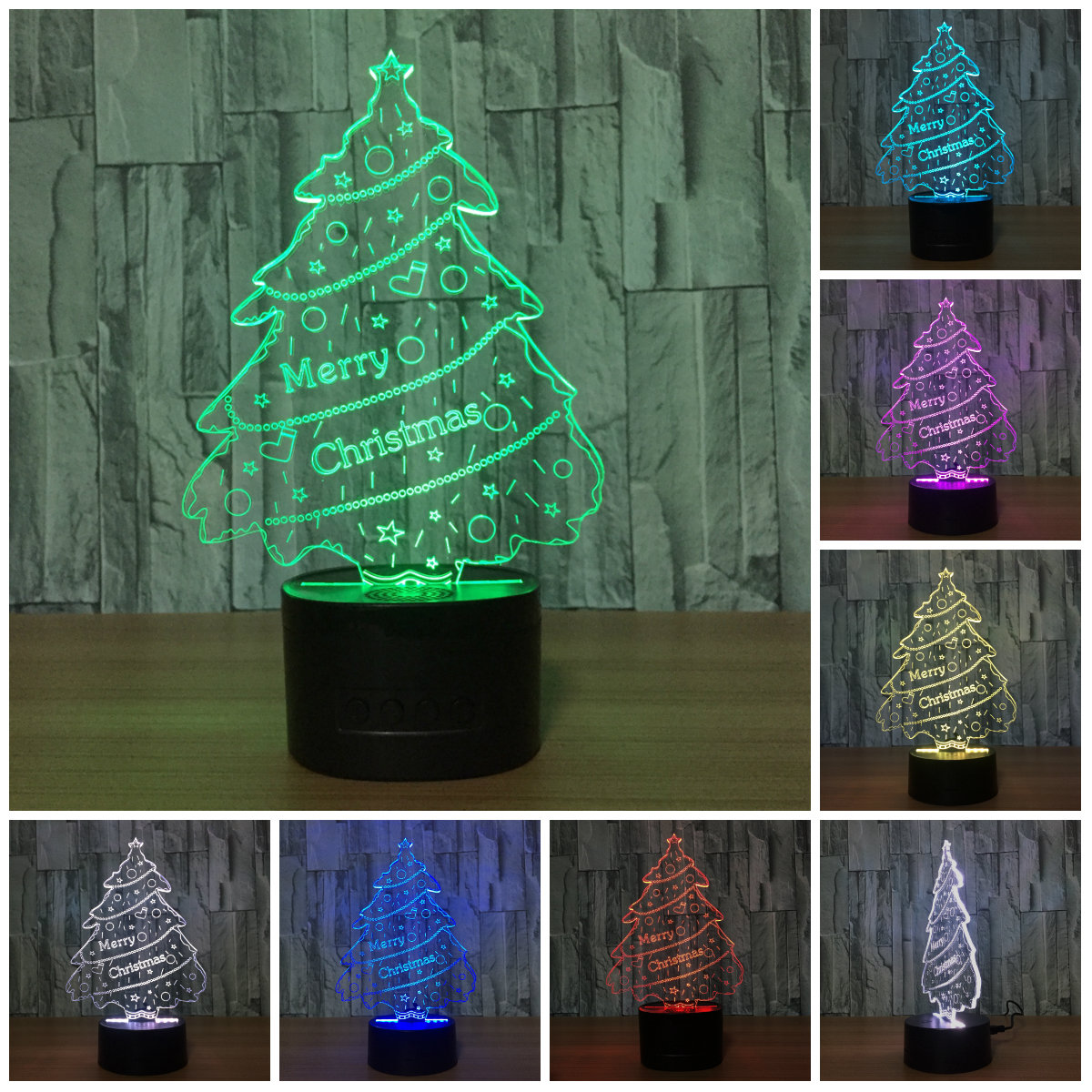 Merry Chrismas Tree Holiday Lighting Xmas LED Night Light Party Decorative USB Desk Tabe ...