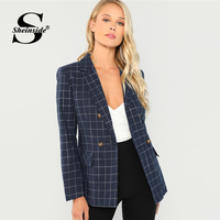 Sheinside Navy Women Blazers And Jackets Double Breasted Notched Neck Plaid Blazer Ladies Long Sleeve Outerwear 2018 Autumn Coat