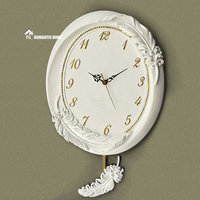 Free shipping New Fashion Art Design Modern Style Large Home Decor White Feather Wall Clock with retail package