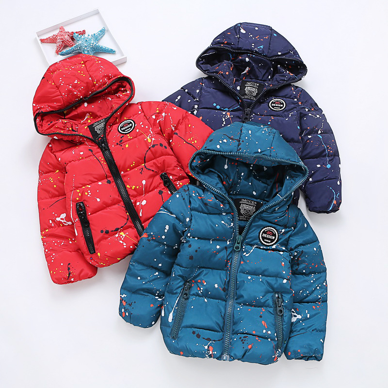 14b58cfbd Winter Jackets for Boys Girls Thick Cotton Padded Hooded Collar Kids ...