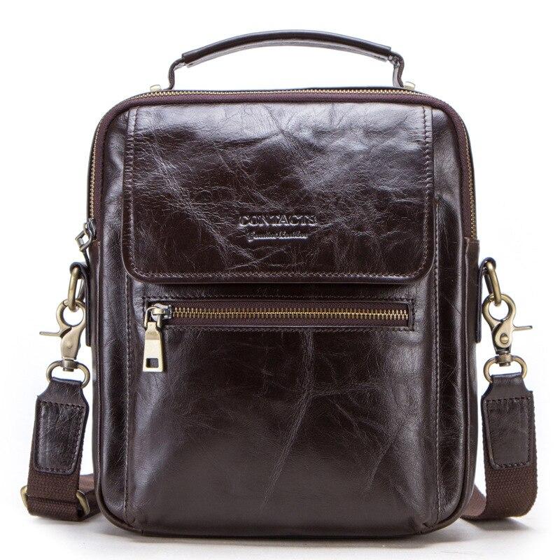 Fashion leather men 39 s shoulder bag 2019 new top layer cowhide large capacity retro shoulder bag For 9 7 inch IPAD shoulder bag