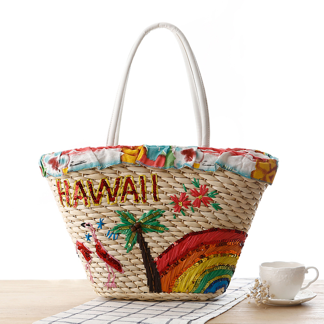 Ethnic Bohemian Women s Embroidery Hawaii Flamingo Straw Handbag.Holiday  Rainbow Coconut Tree Woven Straw Hand Bag.Shoulder Bags 11b8bf7598