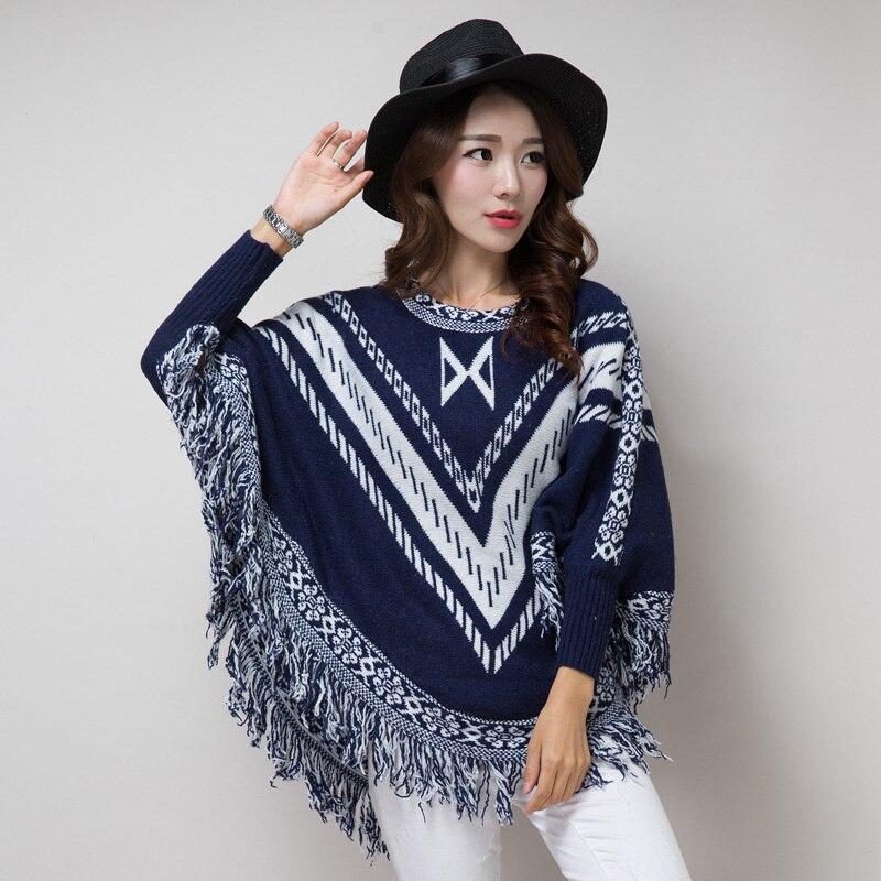 30a04a81415 New Women Winter Tassel Geometric Cloak Long Sweater Fashion Batwing Sleeve  Sweater Poncho Plus Size Pull Femme hiver Kerst Trui
