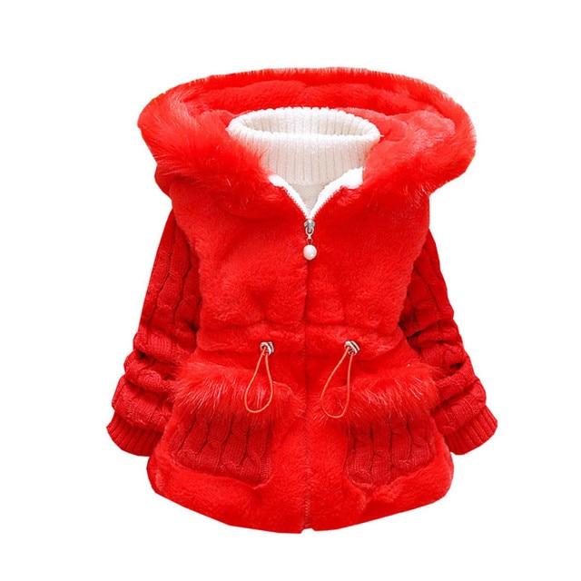 fecb02aab5a1c 9 Mois à 4 Années Hiver Épaississement Infantile Filles Manteau À Capuchon  Manteau Enfants Vêtements Veste