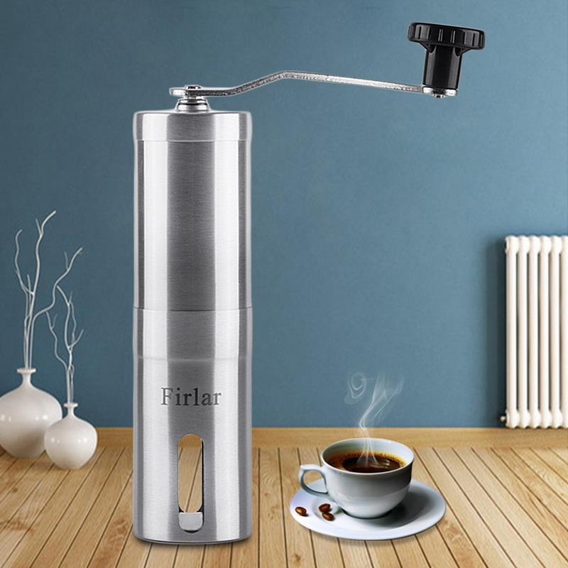 Manual Coffee Grinder Stainless Steel Body Adjustable Ceramic Conical Burr Hand Crank Mill Grinds Beans Spices manual coffee grinder conical burr mill stainless steel portable hand burr grinders