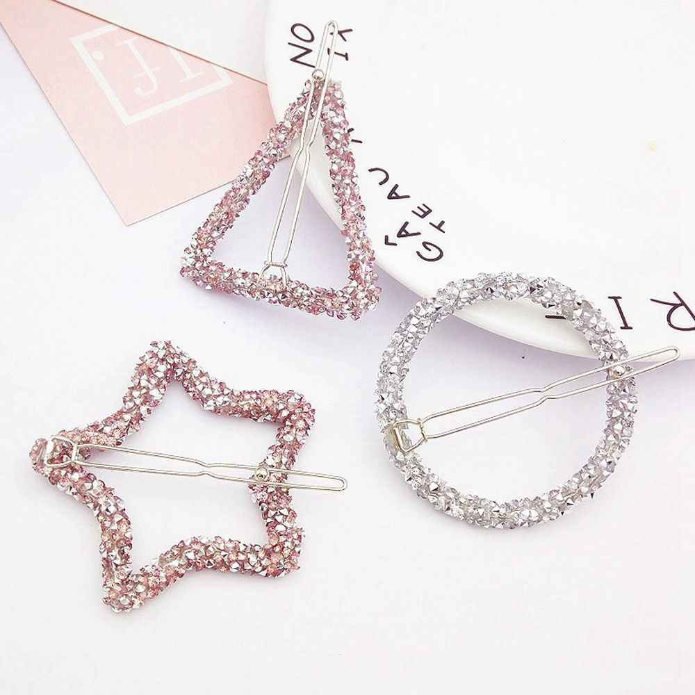 Crystal Rhinestones Hairpin  Hollow Out Star Triangle Round Shape Women Hair Clips Barrettes Hair Styling Accessories Tool