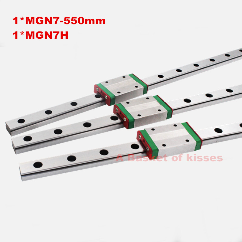 Free shipping 7mm low price Linear Guideway MGN7 L550mm+ 1pc block MGN7H Long linear carriage for CNC X Y Z Axis  linear guide high precision low manufacturer price 1pc trh20 length 1000mm linear guide rail linear guideway for cnc machiner