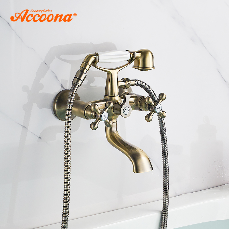 Accoona Bathtub Faucet Wall Mounted Antique Bronze Bathtub Faucets With Dual Hand Shower Bathroom Bath Shower Faucets A6471C