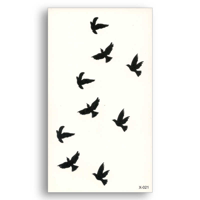 Fake temporary tattoo Water Transfer  Sticker Small pattern Black Birds Women Beauty Cool Girl Body Art Live of Song X021