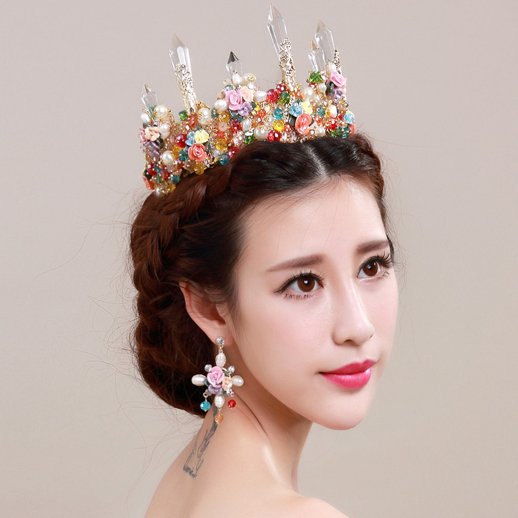 Baroque Style Queen Crown Big Top Crystal Gold Plated Tiara Bridal
