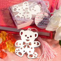 New arrival Factory directly sale Wedding Favor Baby Shower Pink Lovable Teddy Bear Design Bookmarks Baby Shower Favors
