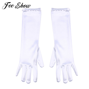 1 Pair White Kids Girls Gorgeous Stretchy Long Satin Full Finger Gloves Kids Girls Full Finger Formal Pageant Party Gloves
