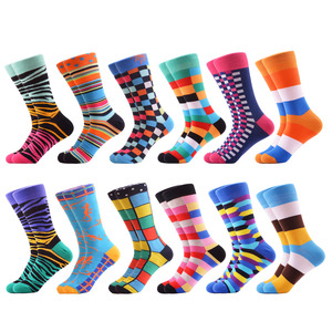 Image 4 - SANZETTI 12 pairs/lot Wholesale Funny Mens Combed Cotton Colorful Socks Ostrich Shark Pattern Novelty Causal Dress Wedding Sock
