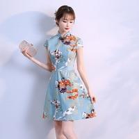 Chinese Traditional Print Flower Cheongsam Women Classic Handmade Button Qipao Asian Elegant Casual Dress Satin Slim Vestidos