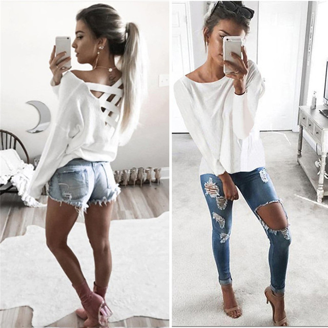 9bab3906d3 Nueva moda mujer suelta manga larga Tops camisa casual verano volver Cruz  casual algodón camiseta ropa