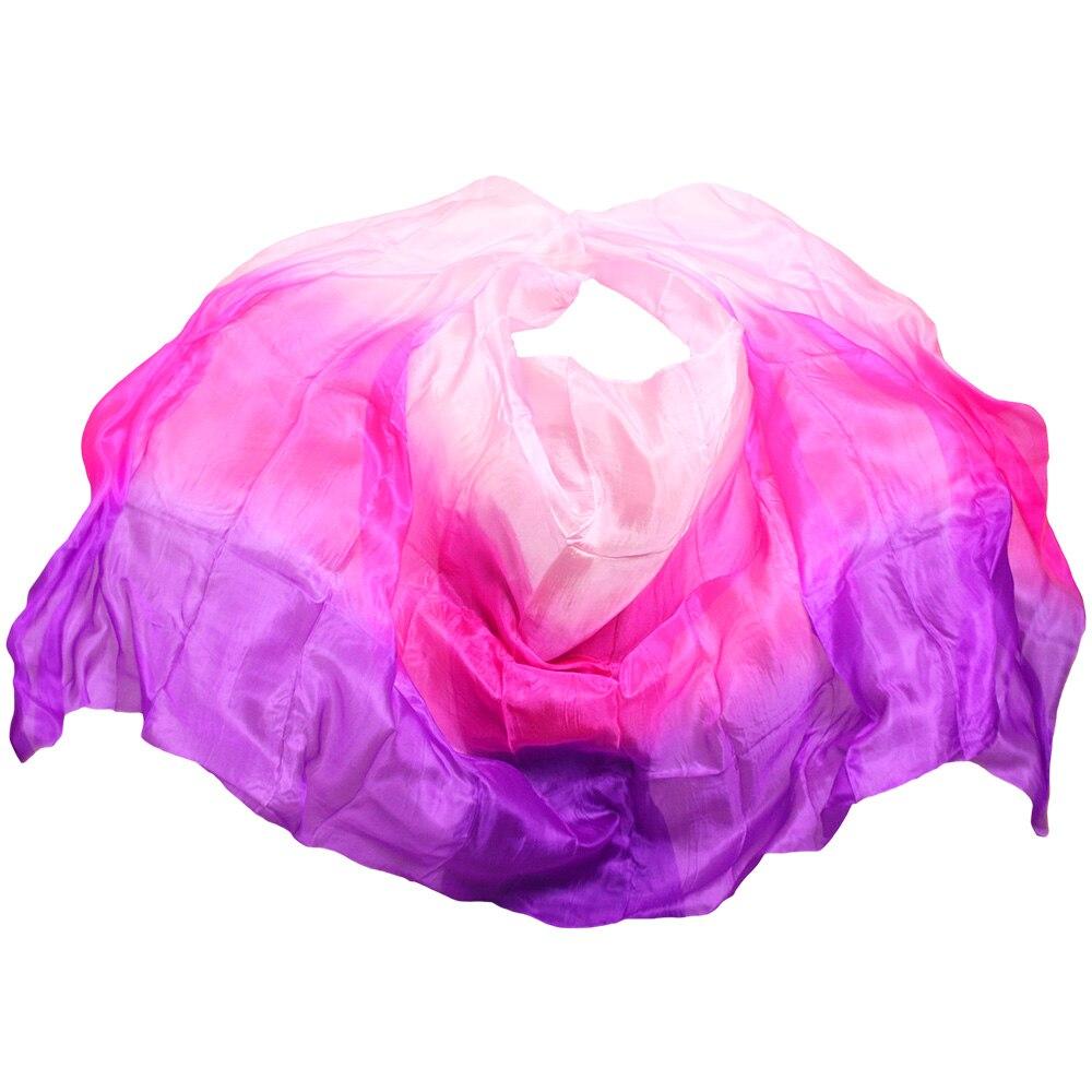 2018 high quality dance veils handmade natural silk belly dance veil pink+rose+purple colors 250/270*114 cm dance accessories