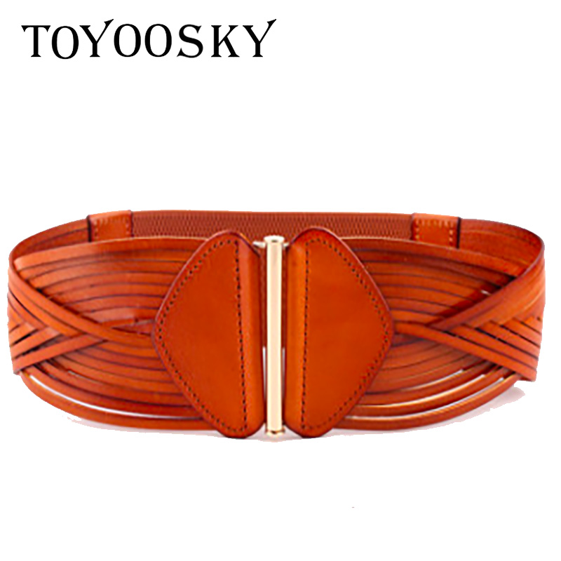 2019 New Fashion Women Wide Belt Cummerbunds For Woman Lady Vintage Elegant Knitted Genuine Leather Belt Elastic  TOYOOSKY
