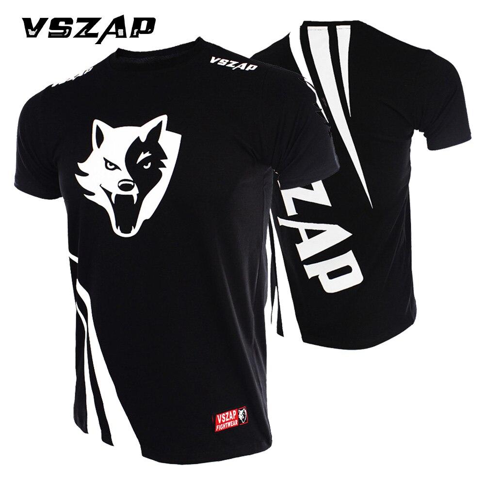 Prix pour VSZAP T-shirt Hommes Sport Aérobic Exécutant Vêtements De Boxe De Boxe Gym T-shirt Pas Cher Mma Muay Thai MMA Costumes T-shirt
