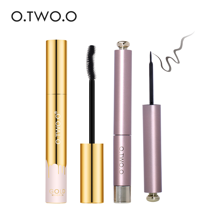 O. TWO.O 2 pcs / set Eye Make Up Set Tahan Air Eyeliner Cair Hitam + Mascaraset Kosmetik lama mengenakan Umpan Balik Yang Baik