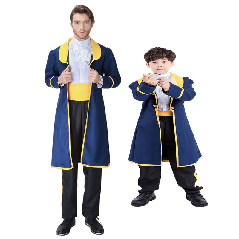 Umorden Carnival Party Costume for Father and Son Family Matching Prince Costumes Beast Prince Adam Cosplay for Men Adult Kids