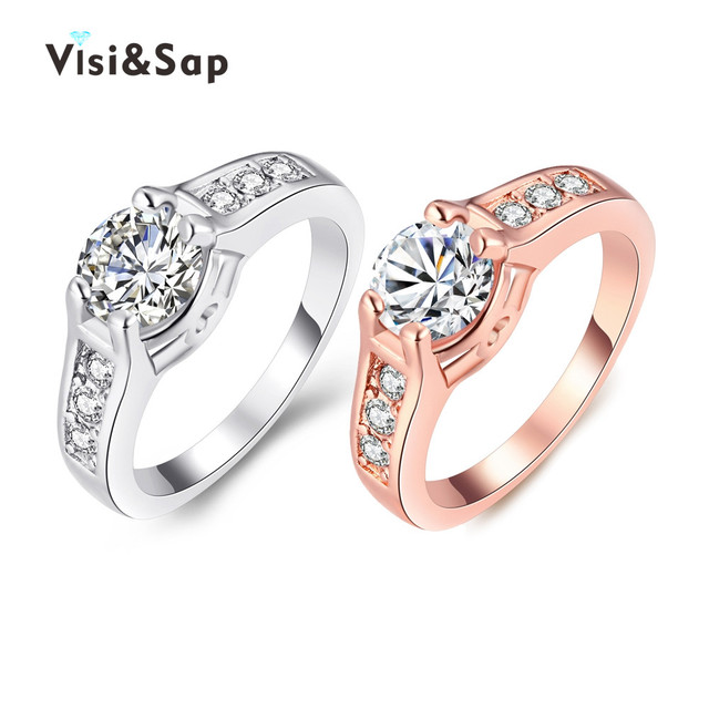 v gold color ring brilliant cubic zirconia korean cute wedding rings for women classic jewelry top - Cute Wedding Rings