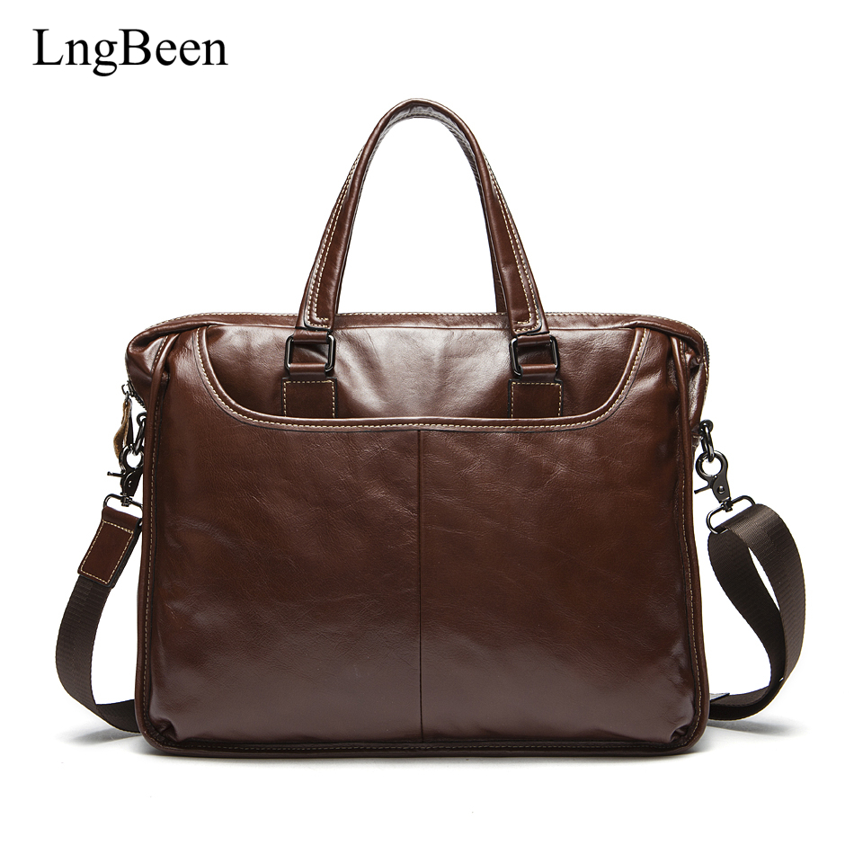 NEW Genuine Leather Coffee Men Briefcase 14 inch Laptop Business Bag Cowhide Men's Messenger Bags Luxury Lawyer Handbags LB9006 цена и фото