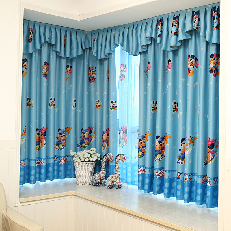 Cartoon Sailing Ship Design Shading Curtain Blackout: 2016 Blue Mickey Mouse Window Shading Printing Curtains