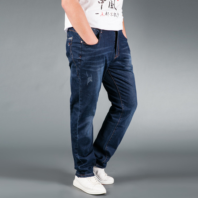 Jeans Mens Brand  Stretch Blue Denim Jeans Fashion For Men Big and Tall Trousers Pants Size 33 34 35 36 38 40 42 44 48