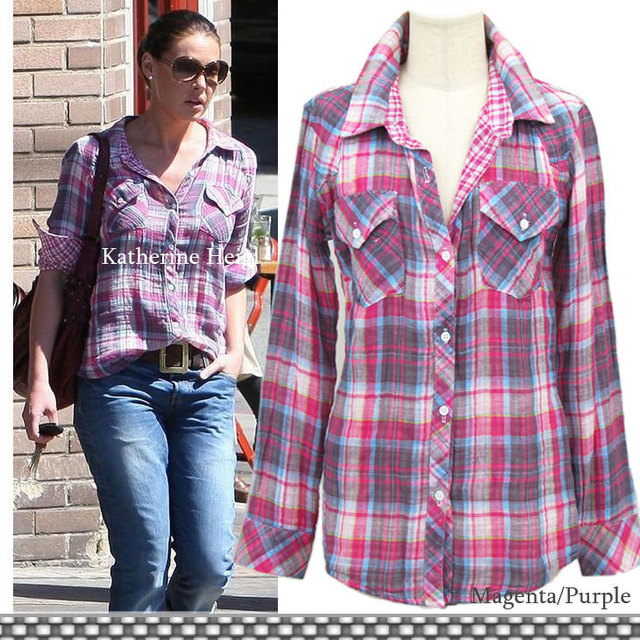 US $29 9 |Hoarily rail plaid stripe rayon shirt Women long sleeve shirt all  match-in Blouses & Shirts from Women's Clothing on Aliexpress com |