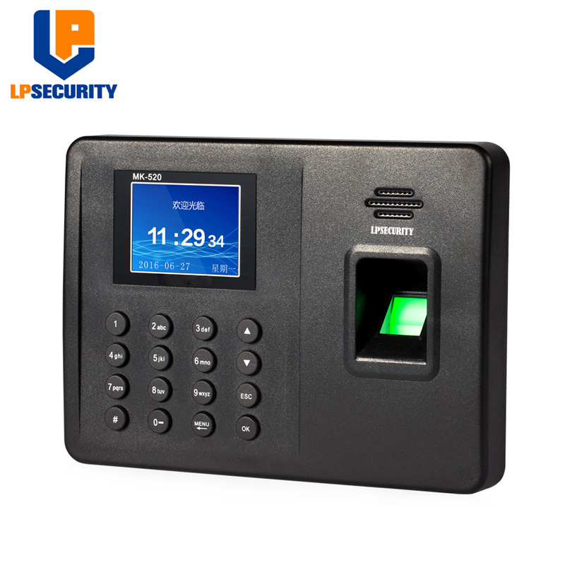 LPSECURITY 1000useers 2.4 Inch TFT Screen Finger Print Time Attendance Biometric Scanner With Usb In English Version