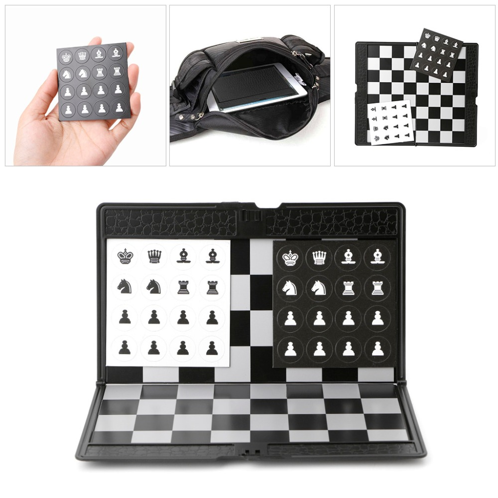 Pocket Chess Board Folding Magnetic International Chess Sets Board Checkers Travel Game цена