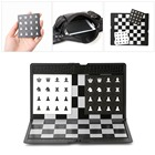 Pocket Chess Board Folding Magnetic International Chess Sets Board Checkers Travel Game