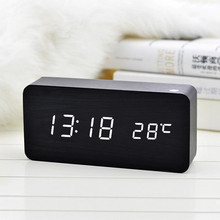 M.Sparkling  Control Calendar LED Display Electronic Desktop Digital Table Clocks Wooden LED Alarm Clock with Temperature Sounds