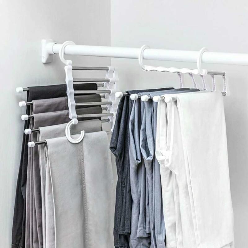 2019 متعددة الوظائف الفولاذ المقاوم للصدأ 5 في 1 المحمولة معلاق للسروال خطافات مزدوجة علاّقات ملابس صندوق تخزين ملابس رفوف تجفيف الرف