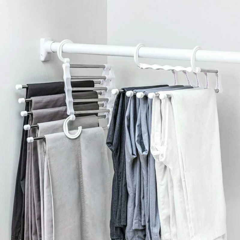2019 Multifunction Stainless Steel 5-in-1 Portable Pants Hanger Double Hooks Clothes Hangers Clothes Storage Racks Drying Rack