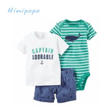 HIMIPOPO  2017 3pc Children Clothes New Baby Summer Set Baby Boys Casual Clothing Set Short Sleeve Cotton T-shirt+Bodysuit+Pants