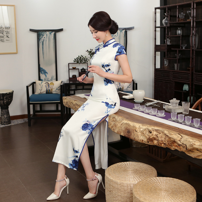 Traditional Chinese Dress Women 39 s White Long Cheongsam Size S to 3XL in Cheongsams from Novelty amp Special Use