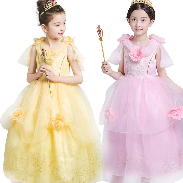 491f8c325df Children s day Girls Kids Baby Belle Princess Dresses Yellow Ball Gown  vestidos wedding flower dresses girl
