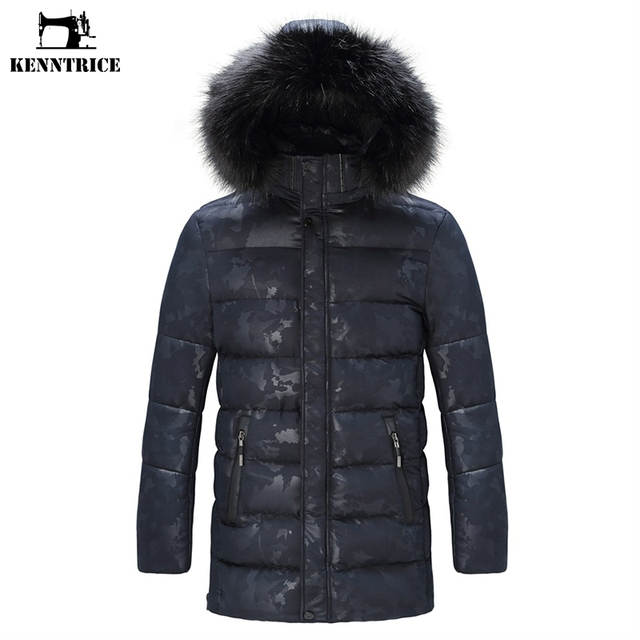 KENNTRICE Winter Jacket Mens Camouflage Military Coats Slim Thicken Coat Camo Warm Men Parkas Medium-long Jackets