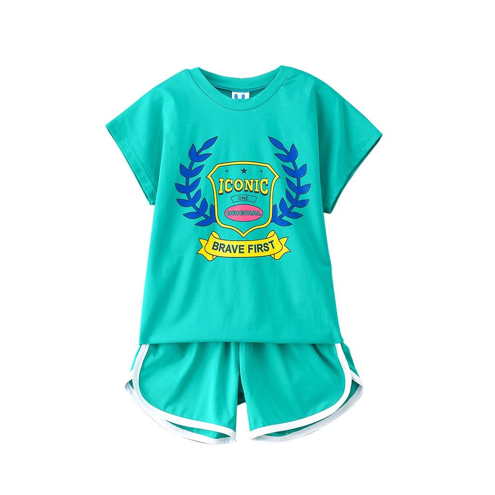 B-S146 New Fashion Summer Girls Casual Sports Set 8-14T Kid Teenager Set Summer Kids Short Sleeve T-shirt+Pants 2pcs Outfit Suit