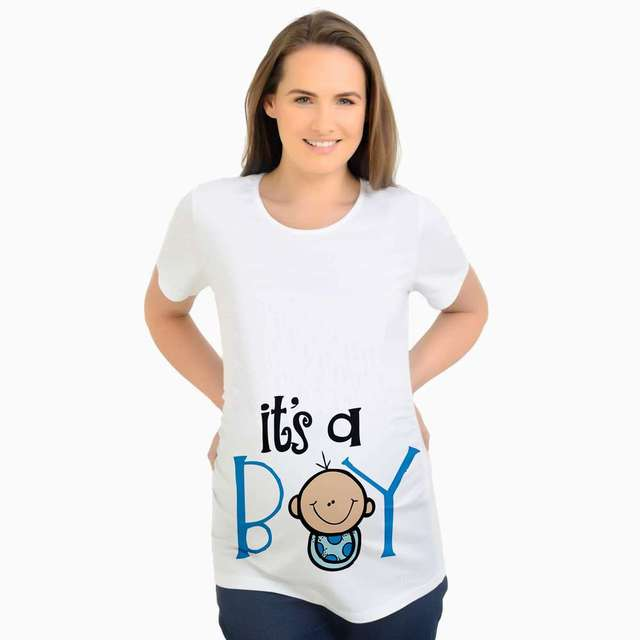 17fa82bf0a681 Plus Size Funny Maternity Pregnant t Shirt Baby boy Printed T-Shirt Women  Casual Maternity Clothing Summer Women Pregnancy Tops