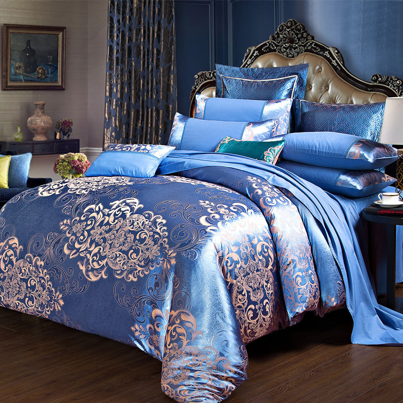 Comforter Cover Bedding Sets Tencel Silk Luxury Duvet Cover Bed Sheet Hot Sale Queen King Double Blue Jacquard Bed Linens SetComforter Cover Bedding Sets Tencel Silk Luxury Duvet Cover Bed Sheet Hot Sale Queen King Double Blue Jacquard Bed Linens Set