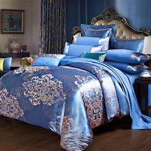 Comforter Cover Bedding Sets Tencel Silk Luxury Duvet Cover Bed Sheet Hot Sale Queen King Double Blue Jacquard Bed Linens Set(China)