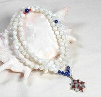 Tibetan Mala Natural Mother of Pearl 108 Beads Mala Tibetan Buddhist Prayer Mala Necklace