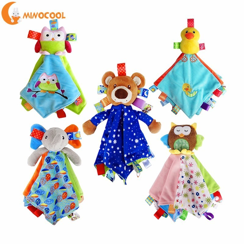 Newborn Blankie Blanket Baby Toys Infant Soothe Towel Newborn Baby Rattles Soothe Towel Plush Toys Appease Stuffed Dolls free shipping plush baby toys appease infants teddy appease towel grasping rattles bb multi functional brinquedos para bebe