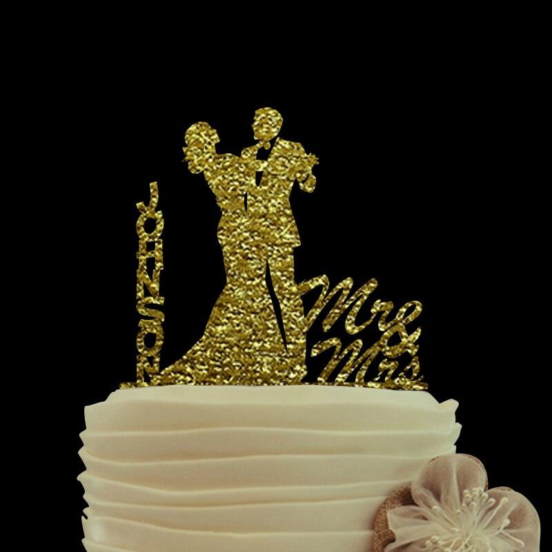 ✅ЗоРотой бРеск торт Топпер мистер и миссис свадебный торт Топпер S