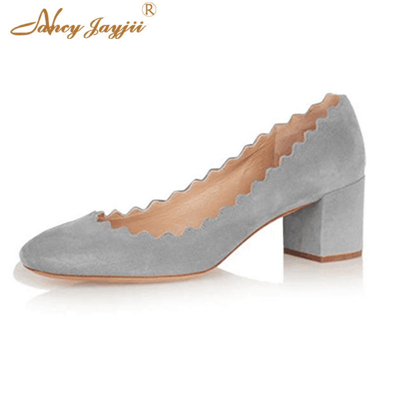 Gold Patent Leather Bridesmaid Women Pump Shoes Party Sqaure heels 6cm Cute Wavy Wedding Black Grey Soft Round Toe Large Size 46
